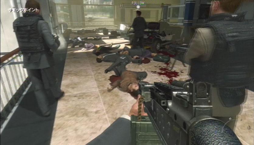 Call of duty4 MW2 :仲間のテロリストが、民間人を虐殺していく