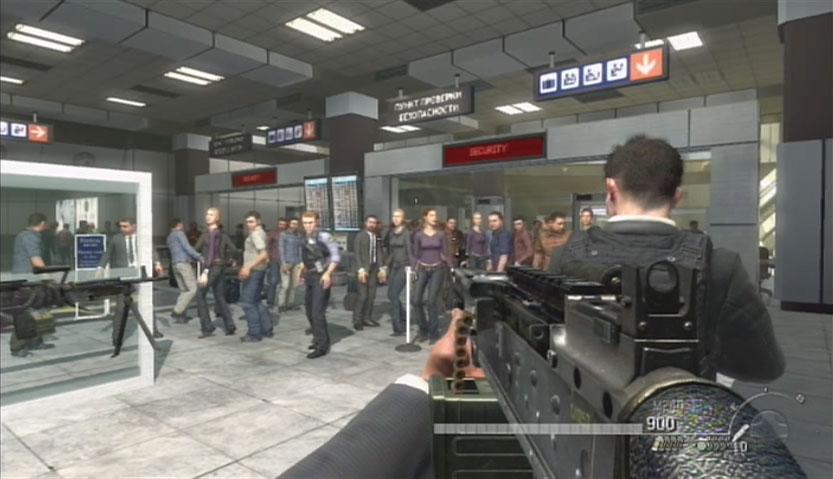 Call of duty4 MW2 :モスクワの空港で、テロ事件をおこす主人公(プレイヤー)