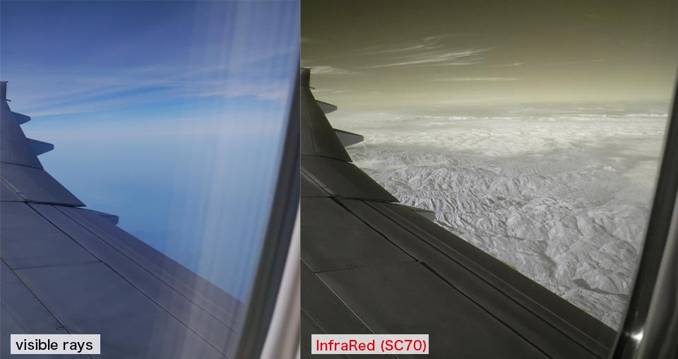 飛行機の中から撮影した、赤外線写真