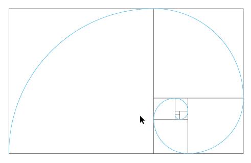 イラレ用 ベクター素材 の黄金分割と黄金螺旋 Golden section and Logarithmic spiral