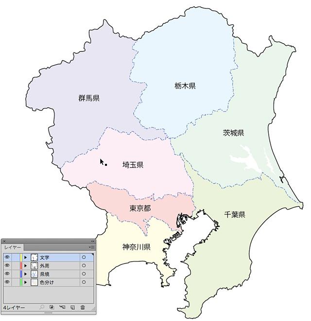 関東地方の地図・色分け可能・イラレ・ベクターフリー素材
