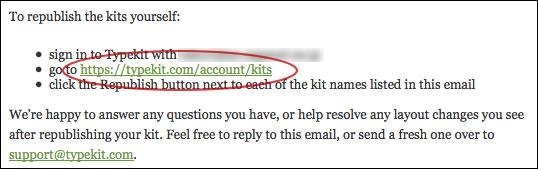 TypeKitのアカウントページにアクセスします
